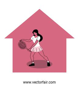 woman in  sports activities at home