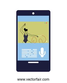 woman doing sports in a mobile phone application