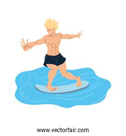 Isolated man surfing on water design