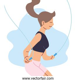 Isolated woman jumping vector design