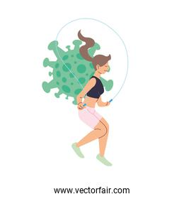 Woman jumping and covid 19 virus vector design