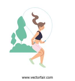 Isolated woman jumping at park vector design