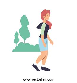Woman with sportswear walking at park vector design