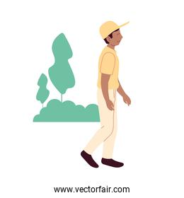Man with sportswear walking at park vector design