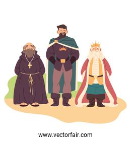 Medieval priest prince and king man vector design