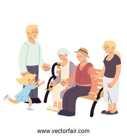 Grandmother grandfather parents and granddaughter on bench vector design