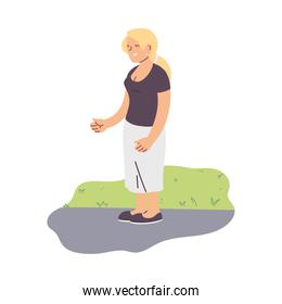 Isolated blond woman vector design