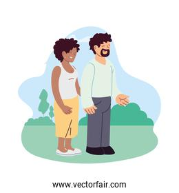 Couple of woman and man at park vector design