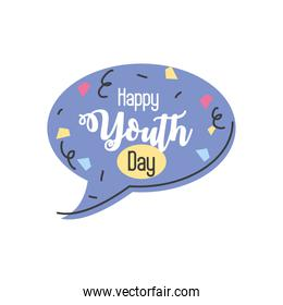 happy youth day with speech bubble
