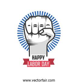 happy labor day celebration, clenched fist