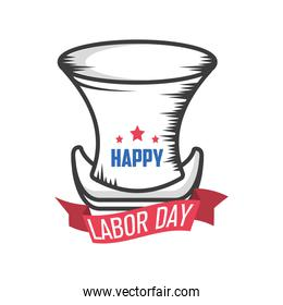 label happy labor day celebration with hat