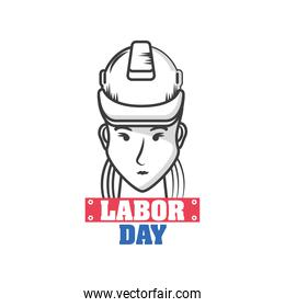 labor day, a female engineer with a helmet