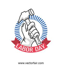 happy labor day celebration, hand holds a hammer tool