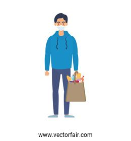 young man using medical mask with supermarket bag
