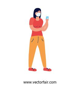 young woman using medical mask and smartphone