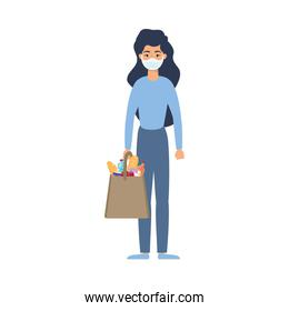 young woman using medical mask with market bag