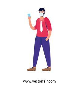 young man using medical mask with smartphone