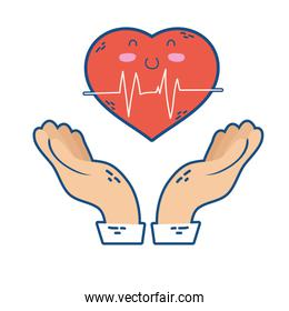 hands lifting heart cardio character