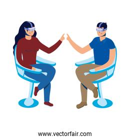 couple using reality virtual tech in chair