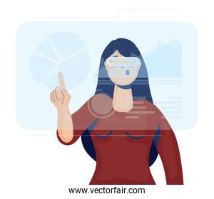 woman using reality virtual tech in interactive display
