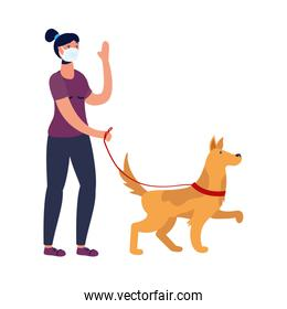 young woman walking with dog using medical mask