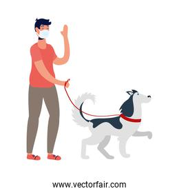 young man using medical mask walking with dog