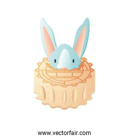 moon cake with rabbit on white background