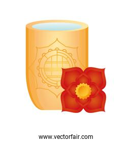 chinese vase with flower on white background