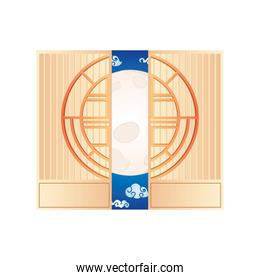 chinese door style on white background