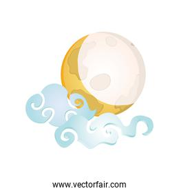 chinese moon with clouds, mid autumn festival