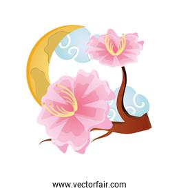 Chinese crescent with clouds, mid autumn festival
