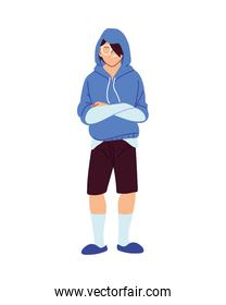 asian man cartoon with hoodie and glasses vector design