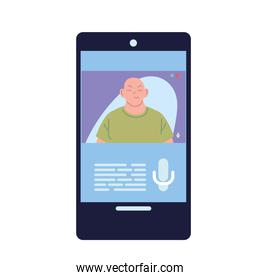 asian man in smartphone in video chat vector design