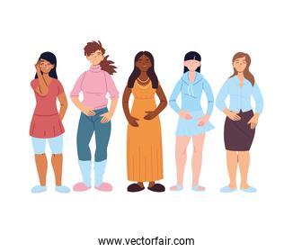 Women cartoons of cultural diversity vector design