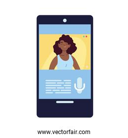 black woman in smartphone in video chat vector design