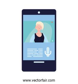 blond woman in smartphone in video chat vector design
