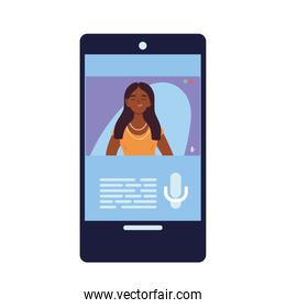 indian woman in smartphone in video chat vector design