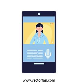 asian woman in smartphone in video chat vector design