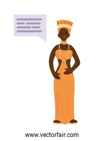 african woman cartoon with bubblevector design