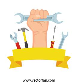 hand with wrench key and tools frame