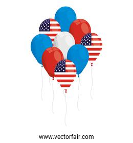 balloons helium with usa flags icons