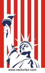 united states of america flag and liberty statue