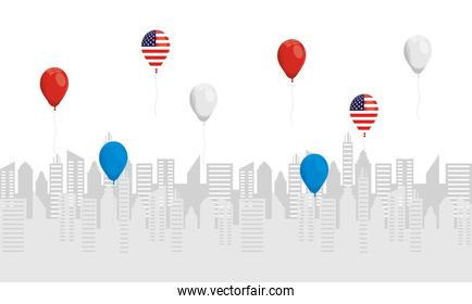 balloons helium with usa flags in cityscape