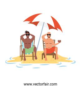 interracial men relaxing on the beach seated in chairs and umbrella