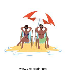 afro couple relaxing on the beach seated in chairs and umbrella