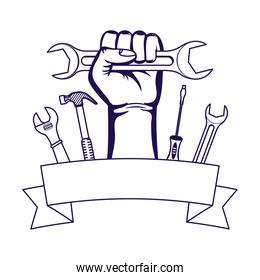 hand with wrench key and tools frame in line style