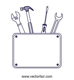 tools construction set equipment with banner
