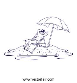 man relaxing on the beach seated in chair and umbrella