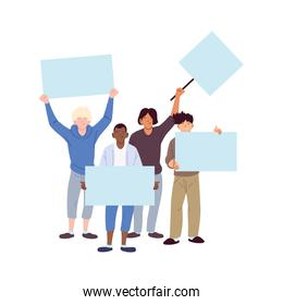 men cartoons holding banners boards vector design