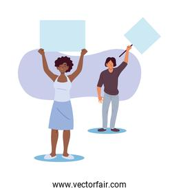 black woman and man cartoons holding banners boards vector design